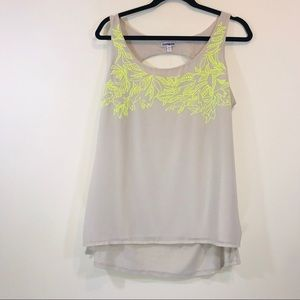 Express Embroidered Cut Out Tank Top - #1300